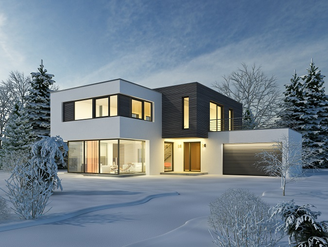 Dank der Winterlandschaft hier auf dem Bild passt sich das Haus natürlich optimal in die Umgebung ein, im Sommer stellt es hingegen einen interessanten Stilbruch zu den grünen Bäumen, zum Gras und zu den Sträuchern dar.(#18)